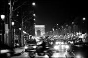 Black And White Photography Paintings - Champs Elysees Photos Paris Black and White Photography  by Tommy Turner
