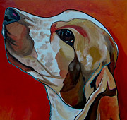 Animal Lover Paintings - Chance Close Up by Patti Schermerhorn