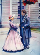 First Couple Paintings - Chance Meeting by Daniela Easter