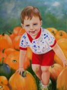 Boys Prints - Chance with the Pumpkins Print by Joni McPherson
