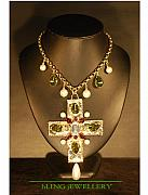 Metal Jewelry - Chanel Style Cross Crystal and Pearl Drop Necklace by Janine Antulov