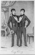 Lithographs Photos - Chang And Eng, 1811-1874, Conjoined by Everett