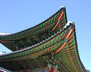 Hand-built Prints - Changdeokgung Palace Roof_Seoul Korea Print by Jon William Lopez