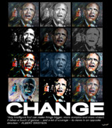 Obama Mixed Media Metal Prints - CHANGE  - Barack Obama Metal Print by Valerie Wolf