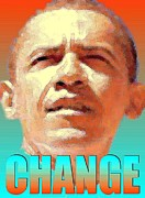Obama Mixed Media Metal Prints - Change - Barack Obama Poster Metal Print by Peter Art Prints Posters Gallery