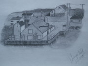 Dock Drawings - Change Islands Fishplant by Tonya Hoffe
