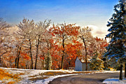 Winter Roads Digital Art Posters - Change of Seasons Poster by Lois Bryan