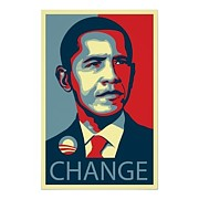 Signed Mixed Media Originals - Change by Shepard Fairey