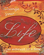 Red Leaf Paintings - Change your Life by Debbie DeWitt