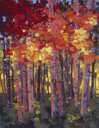 Aspen Trees Pastels Prints - Changes in the Air Print by Dennis Rhoades