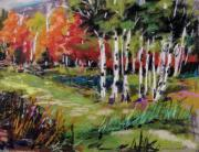 Fall Grass Drawings Posters - Changing Birches Poster by John  Williams