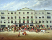 Crowd Painting Prints - Changing Horses outside the Plough Inn Print by JC Maggs