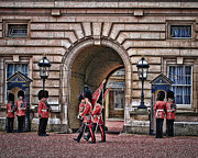 Buckingham Palace Digital Art Metal Prints - Changing of the Guard Metal Print by Elaine Snyder