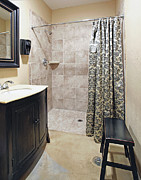 Shower Curtain Metal Prints - Changing Room and Shower Metal Print by Skip Nall