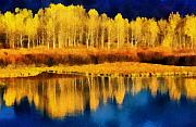 Blue Trees Prints - Changing Seasons Print by Russ Harris