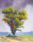 Leaves Pastels Posters - Changing Weather Changing Tree Poster by Christine Kane