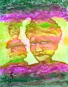 Oil Pastels Paintings - Channeling Spirits by Linda May Jones