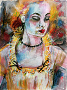 Women Mixed Media - Chantalle and her Sheer Blouse by Ginette Callaway