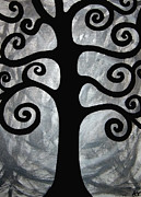 Black-and-white Painting Prints - Chaos Tree Print by Angelina Vick