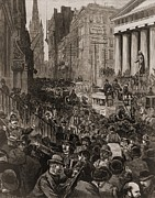 Crowd Scene Art - Chaotic Scene On Wall Street, Nyc by Everett