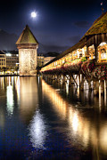 Lucerne Photo Posters - Chapel Bridge at Night in Lucerne Poster by George Oze