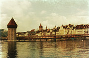 Lucerne Photo Posters - Chapel Bridge Lucerne Switzerland Poster by Susanne Van Hulst