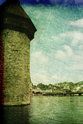 Landmark Prints - Chapel bridge Tower in Lucerne Switzerland Print by Susanne Van Hulst