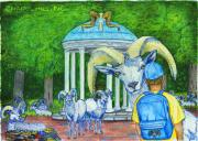 College Pastels Prints - Chapel Hill NC The Freshman Print by Laura Brightwood