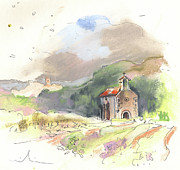 Churches Drawings - Chapel in Catalonia in Spain 02 by Miki De Goodaboom