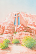 Chapel Painting Metal Prints - Chapel in the Rock Metal Print by Sandra Neumann Wilderman