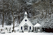 Gatlinburg Tennessee Photo Prints - Chapel in the Snow - D007592 Print by Daniel Dempster