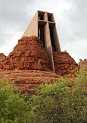 Red Rocks Of Sedona Prints - Chapel of the Holy Cross Print by Carol Groenen