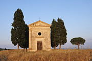 Siena Chapel Framed Prints - Chapel Of Vitaleta With Cypress Trees Near Sunset Framed Print by Martin Ruegner