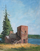 Maine Shore Painting Prints - Chapel on Acre Island Print by Robert James Hacunda