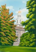 University Of Illinois Painting Originals - Chapel on the Hill by Charlotte Blanchard