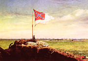 Civil War Fort Framed Prints - Chapman: Fort Sumter Flag Framed Print by Granger