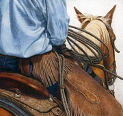 Cowboy Drawings Prints - Chaps Print by Pat Erickson