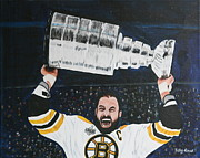 Nhl Prints - Chara and The Cup Print by Betty-Anne McDonald