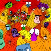 Funny Monsters Posters - Characters in color Poster by Jera Sky