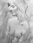 Mendyz Originals - Charcoal Black White Nude Portrait Drawing Sketch of Young Nude Woman Feeling Sensual Sexy Lonely by M Zimmerman
