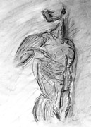 Statue Portrait Drawings Posters - Charcoal Classic Jesus Male Nude Looking Over Shoulder Sketch in a Sensual Primal Erotic Black White Poster by M Zimmerman