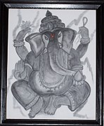 Pencil On Canvas Framed Prints - Charcoal Ganesh Framed Print by Anu Darbha