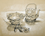 Teapot Drawings - Charcoal Pencil Still Life by Stephen Boyle