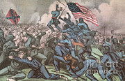 Confederacy Framed Prints - Charge Of The 54th Massachusetts Framed Print by Photo Researchers