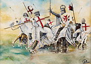 Templar Paintings - Charge of the Knights  Templar by John Palliser