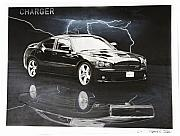 Charcoal Car Posters - Charger Poster by Raymond Potts