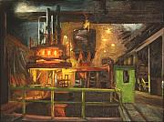 Factory Work Posters - Charging the Arc Furnace Poster by Martha Ressler