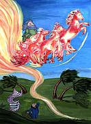 Bible Story Prints - Chariot of Fire Print by Sherry Holder Hunt