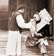 Queue Framed Prints - Charitable Chinese Man Feeding Framed Print by Everett