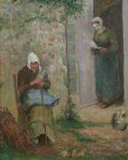 Old Door Painting Framed Prints - Charity Framed Print by Camille Pissarro